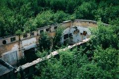 Widok z lotu ptaka zielony las i zaniechana fabryka bez dachu, rujnujący budynek po wojny Fotografia Royalty Free
