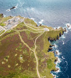 Widok z lotu ptaka ziemi końcówka w Cornwall Obrazy Stock
