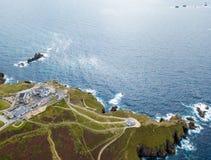 Widok z lotu ptaka ziemi końcówka w Cornwall Obraz Stock