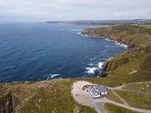 Widok z lotu ptaka ziemi końcówka w Cornwall Fotografia Stock