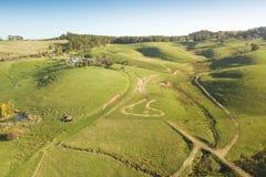 Widok z lotu ptaka ziemia uprawna w Południowym Gippsland obrazy royalty free