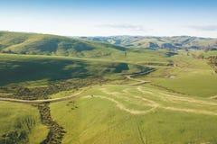 Widok z lotu ptaka ziemia uprawna w Południowym Gippsland fotografia stock