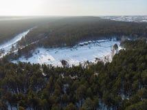Widok z lotu ptaka zimy narty baza obrazy stock