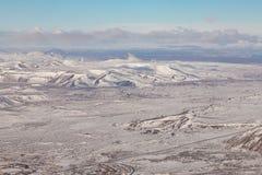 Widok z lotu ptaka zimy sezonu widok górski, Iceland Zdjęcia Royalty Free