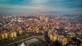 Widok z lotu ptaka zmierzch w mieście w zimie obraz royalty free