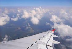 Widok z samolotowego samolotu skrzydła Fotografia Stock