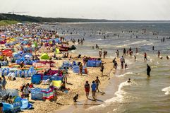 Widok z wierzchu plaży w lecie, tłumy turyści sunbathe zdjęcie royalty free