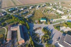 Widok z wierzchu wioski Domy i ogródy Countrysid obrazy stock