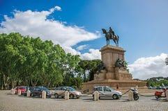 Widok zabytek na cześć Garibaldi w Gianicolo parku przy Rzym Zdjęcie Royalty Free