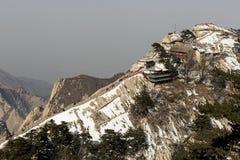 Widok Zachodni szczyt od Południowego szczytu góra Huashan, Chiny Zdjęcia Royalty Free