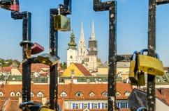 Widok Zagreb dachy Obraz Stock