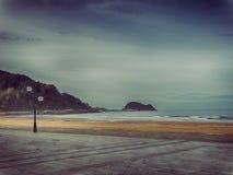 Widok Zarautz i Getaria bask plaży krajobrazu północ Hiszpania zdjęcia stock