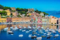 Widok zatoka cisza w Sestri Levante, Włochy zdjęcie royalty free