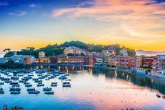 Widok zatoka cisza w Sestri Levante, Włochy zdjęcie stock