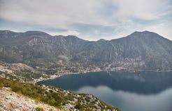Widok zatoka Kotor od obserwacja pokładu Montenegro Lato zdjęcia stock