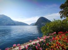 Widok zatoka Lugano obraz royalty free