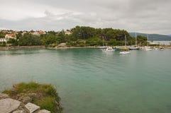 Widok zatoka w miasteczku Krk Zdjęcia Royalty Free
