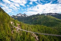Widok zawieszenie most w Zalesionym góra krajobrazie zdjęcie stock