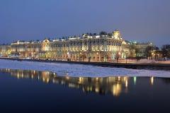 Widok zima pałac i pałac bulwar St Petersburg Rosja zdjęcie stock
