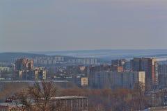 Widok zima Sloviansk Ukraina od wzgórza Artyom microdistrict zdjęcie stock