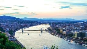 Widok zmierzch nad Budapest fotografia royalty free