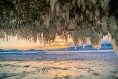 Widok zmierzch przy Jeziornym Baikal Zdjęcie Stock