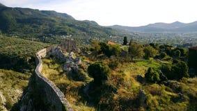 Widok zniszczone ruiny Stary bar, Montenegro fotografia stock
