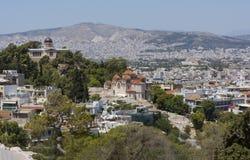 Widoki krajowy obserwatorium i Agia Marina kościół w Athe Obrazy Stock