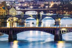 Widoki miasto Praga i most nad Vltava Obraz Stock