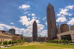Widoki na Cleveland śródmieściu od Erieview placu w ranku czasie, Cleveland, OH zdjęcia royalty free