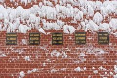 Widoki pogrzeby przy Kremlin ściany Necropolis w zimie moscow Rosja zdjęcie stock
