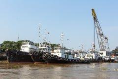 Widoki Saigon port Saigon port jest siecią porty w Ho Chi Minh mieście Zdjęcie Stock