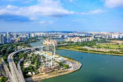 Widoki Singapur Ferris koło zdjęcia stock