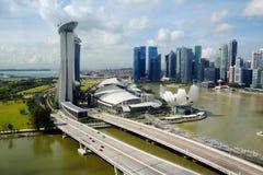 Widoki Singapur linia horyzontu od taksówki Ferris koło Zdjęcia Stock