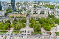 Widoki Warszawa z wierzchu pa?ac kultura i nauka obrazy royalty free