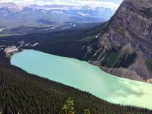 Widoki wycieczkuje wokoło śladu, równiny sześć lodowów, Jeziornego Agnes, Lustrzanego jeziora i Dużego ula Jeziornego Louise, Lak Zdjęcie Royalty Free