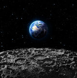 Widoki ziemia od księżyc powierzchni Zdjęcia Stock