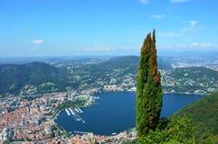 Widoku Como jezioro od Brunate Obrazy Stock