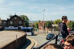 Widoku dwoistego decker czerwieni autobus zdjęcia royalty free
