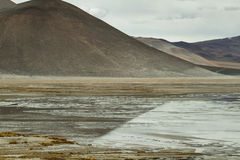 Widoku góry i Aguas calientes słone jezioro w Sico Przechodzi Fotografia Royalty Free