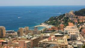 Widoku Monaco sąsiedztwa Piękny Śródziemnomorski Brzegowy Cote d ` Azur UHD 4k zbiory wideo