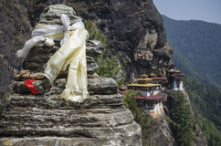 Widoku punkt Taktshang monaster, Bhutan Fotografia Stock