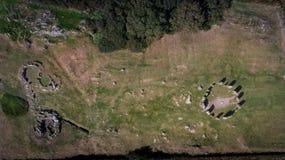 Widoku z lotu ptaka Drombeg kamienia okrąg Okręgu administracyjnego korek Irlandia obrazy stock