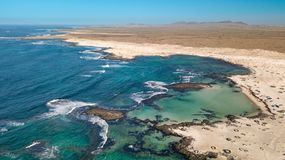 Widoku z lotu ptaka p??nocny wybrze?e Fuerteventura obrazy stock