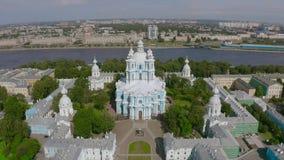 Widoku z lotu ptaka Smolny katedra w Świątobliwym Petersburg, Rosja zbiory
