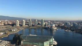 Widoku z lotu ptaka timelapse nowożytny pejzaż miejski Vancouver Kanada Listopad 2018 zbiory