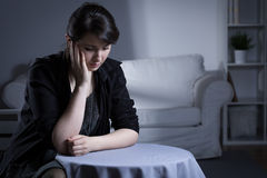 Widow being in mourning. Portrait of despair widow being in mourning Stock Image