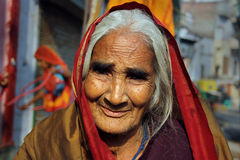 Widow in India. February 10,2012 Benaras,Uttar Pradesh,India,Asia- A portrait of an Indian old woman Stock Images