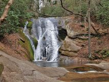 Widow`s Creek Falls at Stone Mountain State Park. In Low Gap, North Carolina drops about 25 feet before emptying into a small pool stock photos