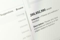 Widownia wyszczególnia obliczony zasadzonego na reklama kierownika module facebook obrazy royalty free